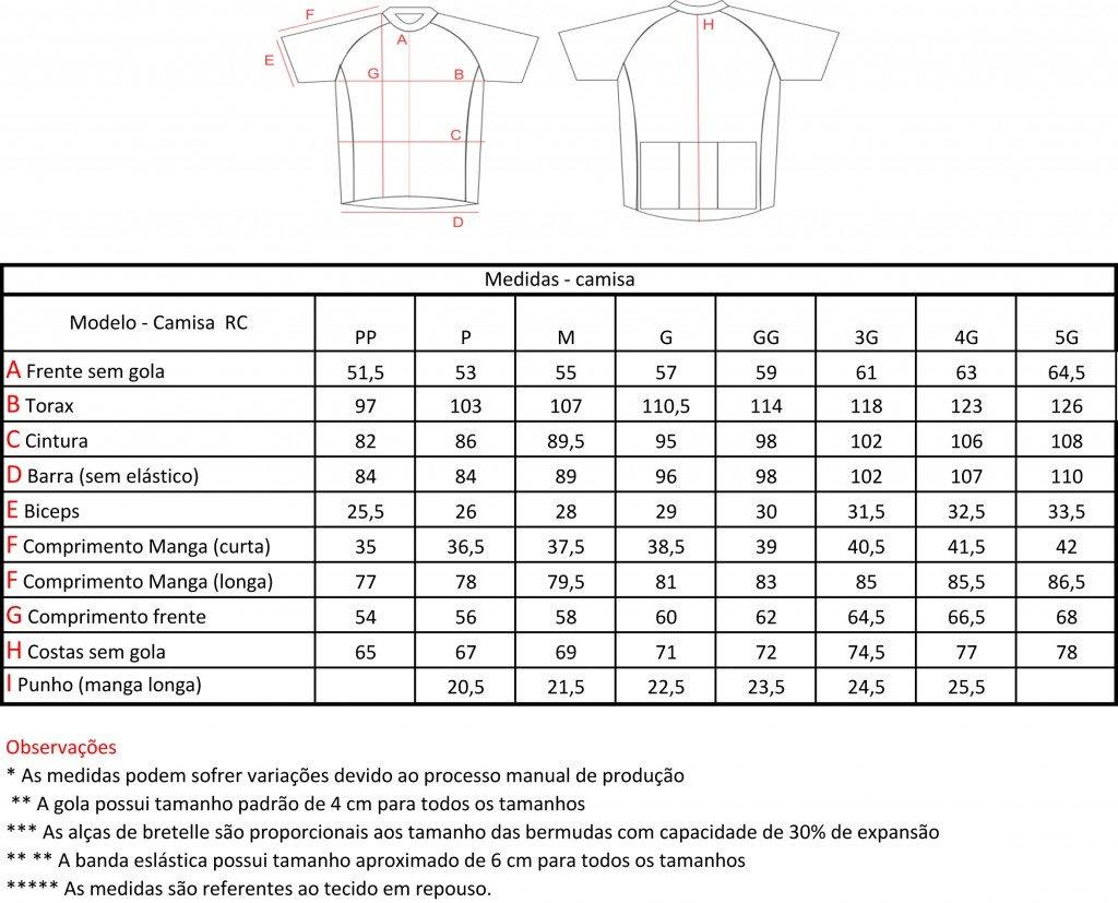 Grade de Tamanhos e Medidas Camisa